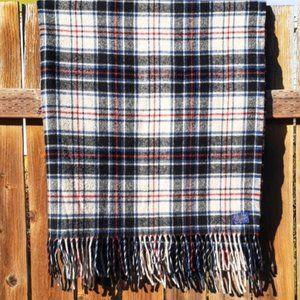 Vintage 1960's Pendleton Tartan Fringed Wool Throw